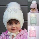 В наличии Зимняя шапка для девочки Бантик от 1 года 46 48