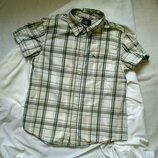 Рубашка H&M на мальчика 11 12 13 14 лет в клетку с коротким рукавом хлопок