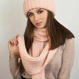 женский вязаный комплект шапка и шарф Дизалия бр 4631-10