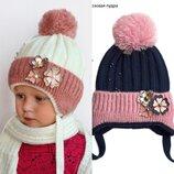 Детская зимняя шапка Конфетка для девочки от 2 лет 48 50 52 53