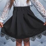 Школьная юбка для девочки с кружевом vsl-01617