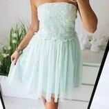 Бирюзовое шифоновое платье с кружевом little mistress