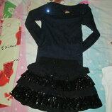 юбка с паетками и реглан 7-9 лет