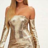 Эффектное золотое платье мини prettylittlething