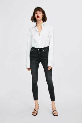 Черные джинсы с высокой посадкой от ZARA, 36, 38, 40, 42, 44р, оригинал, Испания