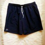 синие темные короткие длинные мужские спортивные шорты с сеткой на резинке