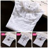 Качественные с прошвы и кружевах блузки регланы в школу р. 116-152