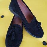 Шикарные туфли- лоферы из натуральной замши