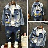 Стильный джинсовый пиджак куртка джинсовая с Микки. Скидка на последний размер