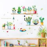 3D интерьерные виниловые наклейки на стены Набор Кактусов - Растений 70-50 см в детскую .Обои