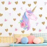 3D интерьерные виниловые наклейки на стены Сказочный Единорог Пони с сердечками 1 в детскую 60-40