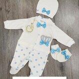 Человечек нарядный с шапочкой и царапками для мальчика для новорожденных , набор на выписку