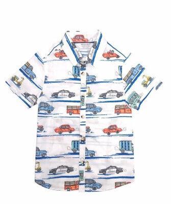 Хлопковая рубашка Primark с машинками для мальчика р.80-98