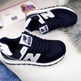 Женские синие кроссовки New Balance замшевые
