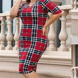 Платье приталенного силуэта батал ангора принт клетка красный капучино