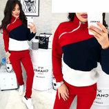 Теплый спортивный костюм с начесом женский штаны и кофта со змейкой ворот стойка красный