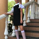 75 Платье школьное короткий рукав плечи вырез костюмка 122,128,134,140,146