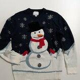 Фирменный новогодний свитер L