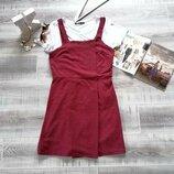 крутой короткий сарафан платье бордо марсала низ на запах