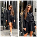Стильное спортивное платье серое чёрное