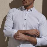 Мужская рубашка белая lc waikiki / лс вайкики в мелкие синие листики