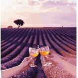 Картина по номерам. Brushme Лавандовое поле Валенсоль с бокалами. Сергей Сухов GX23787
