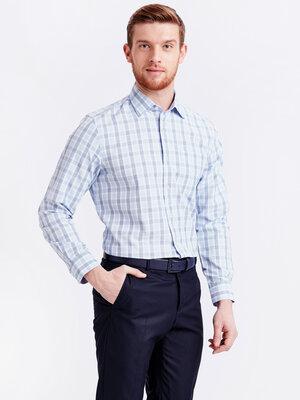 Мужская рубашка белая lc waikiki / лс вайкики в голубую и синюю клетку