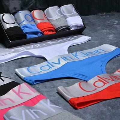 Набор трусов женских Calvin Klein стринги из 5 шт M L XL