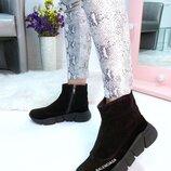 Женские высокие кроссовки Balenciaga, кожа, замша