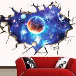 3D интерьерные виниловые наклейки Космос - Планеты - Звезды 90-60 см в детскую .Обои