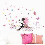 3D интерьерные виниловые наклейки на стены Цветочная фея на веточке 50-70 см в детскую . Декор, Об