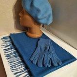Комплект чешский фетровый берет tonak fezko и палантин с перчатками в тон голубой