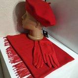 Комплект чешский фетровый берет tonak fezko и палантин с перчатками в тон красный