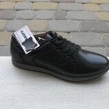 40-44р новые кожаные мужские подростковые туфли - кроссовки черные кожа Kangfu