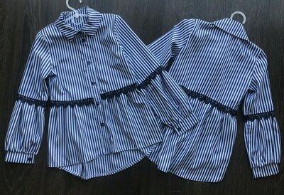 Стильная рубашка с рукавом-бочонком в школу