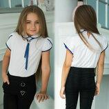 Детская стильная школьная блузка 649 Рукава Лепесток Галстук Еант Контраст