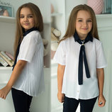 Детская стильная школьная блузка-туника 488 Плиссе Воротничок Галстук Контраст