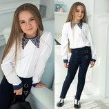 Детская стильная школьная блузка 647 Манжеты Воротничок Мулине Контраст