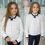 Детская стильная школьная блузка 486 Воротничок Манжеты Кант Контраст Брошь