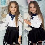Детская школьная блузка для девочек 645 Воротничок Шалечка Контраст Брошь