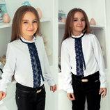 Детская школьная блузка для девочек 488 Воротничок Рюши Кружево Контраст