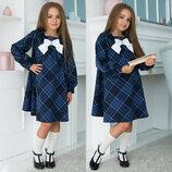 Детское стильное платье 639 Клетка Рукава Бант в школьных расцветках