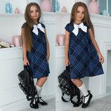 Детское стильное платье 641 Клёш Клетка Бант в школьных расцветках