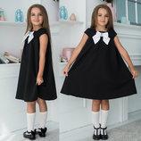Детское стильное школьное платье 641 Клёш Кокетка Бант