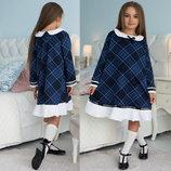 Детское стильное платье 637 Клетка Клёш Воротничок Оборка в школьных расцветках