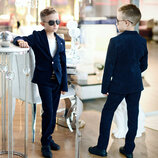 Детский стильный костюм для мальчика 610 Двойка Классика Вельвет Синий