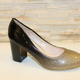 Туфли омбре черные с золотистым носком на каблуке