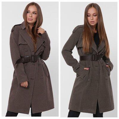 Женское демисезонное пальто в мелкую клетку от X-Woyz 8847 42-48 р.