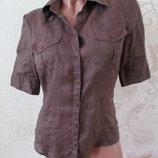 Рубашка льняная/лен/коричневая/s-m
