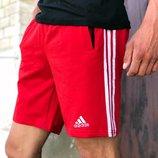 Шорты трикотажные в стиле Adidas Three line красные